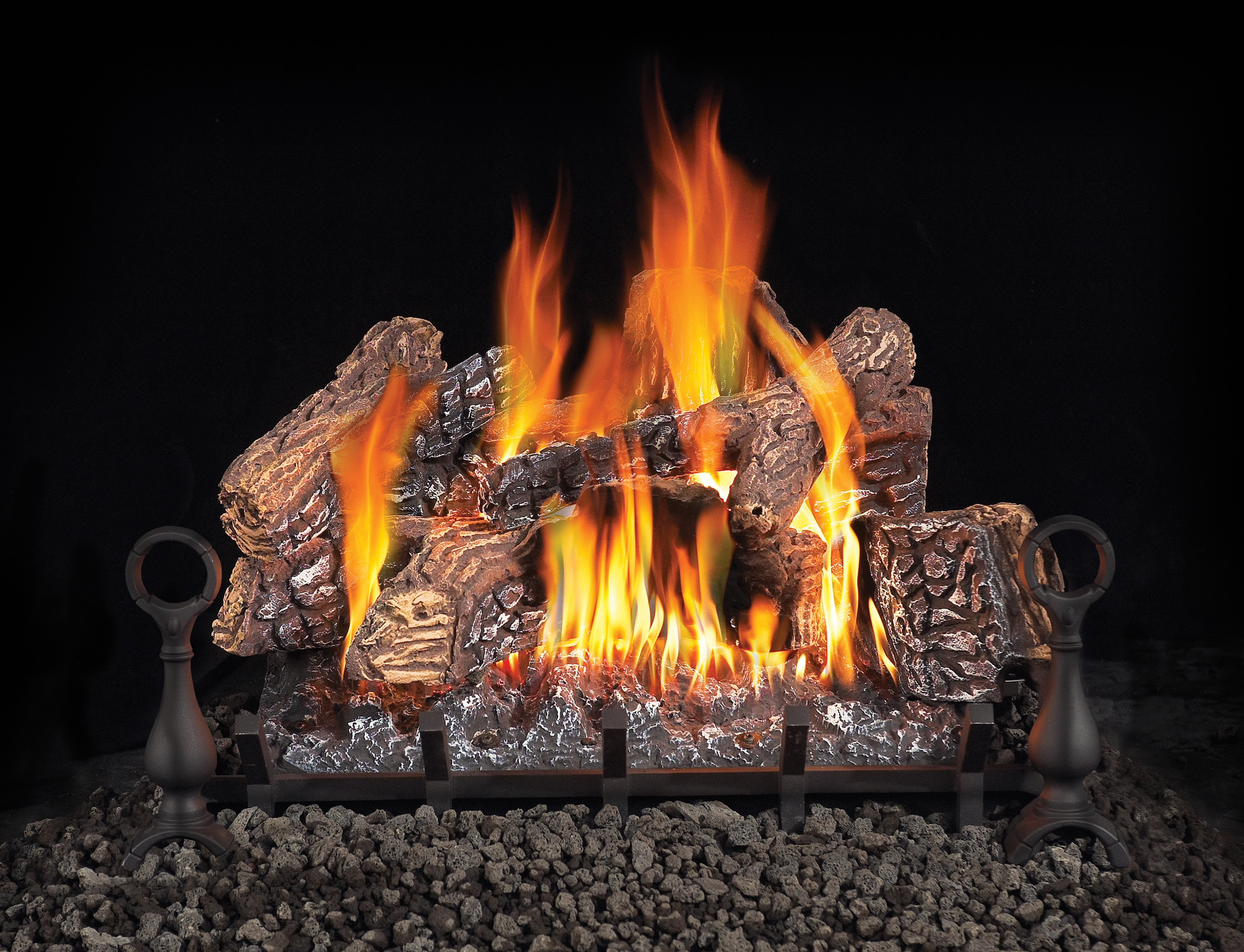inferno chimney ceramic countryside fireplace stove logs gas